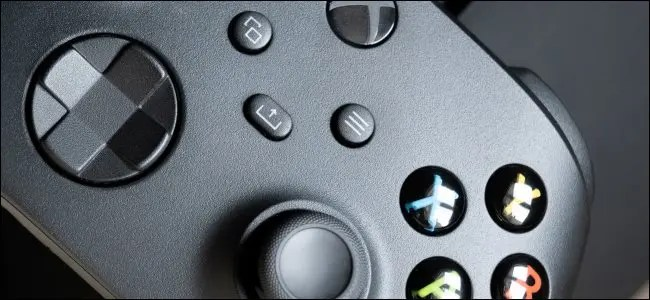 A close-up of an Xbox Series X controller.