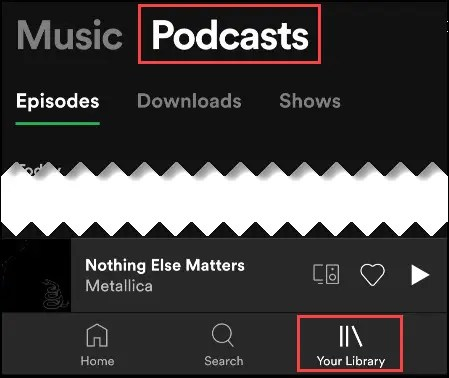 podcast tab