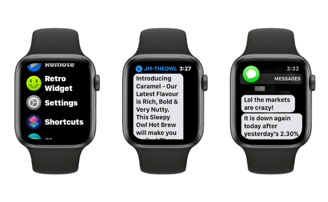 Examples of Increased Text Size on Apple Watch