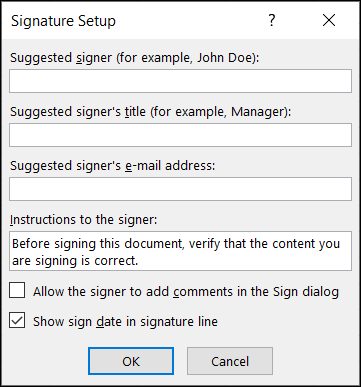 Select the options for the signature
