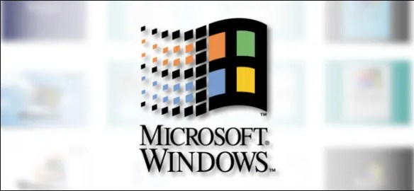 The classic Microsoft Windows logo on a blurry white background