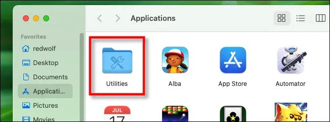 "In the Applications folder, open ""Utilities."""