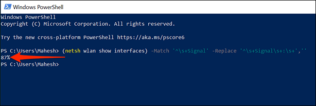 Check the Wi-Fi signal strength using PowerShell