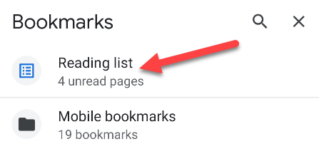 tap Reading List on bookmarks page