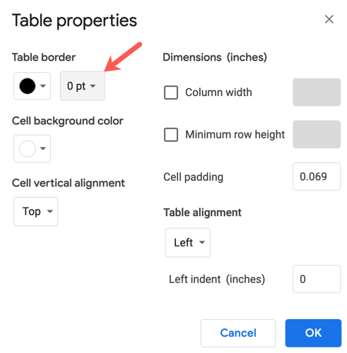 Choose 0 pt for the table border