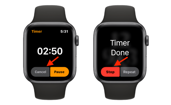 Cancel or Stop Timer on Apple Watch