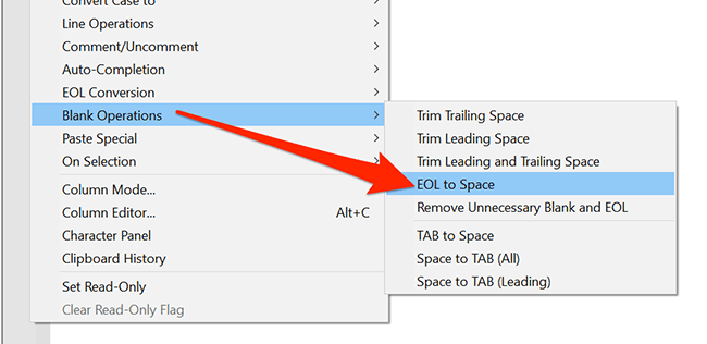 """In the """"Edit"""" menu, select """"Blank Operations"""" and """"EOL to Space"""" option in Notepad++."""