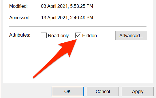 """Check """"Hidden"""" in the Properties window for a desktop icon."""
