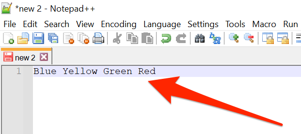 A list of items on one line in Notepad++.