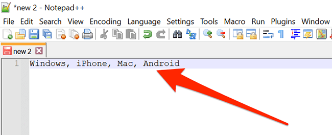 A Notepad++ window showing a comma-separated list.
