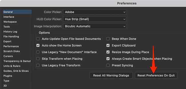 Enable the reset option in Photoshop's Preferences menu