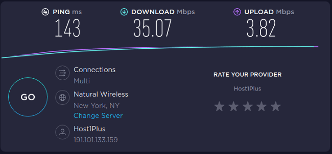speed test with VPN to New York