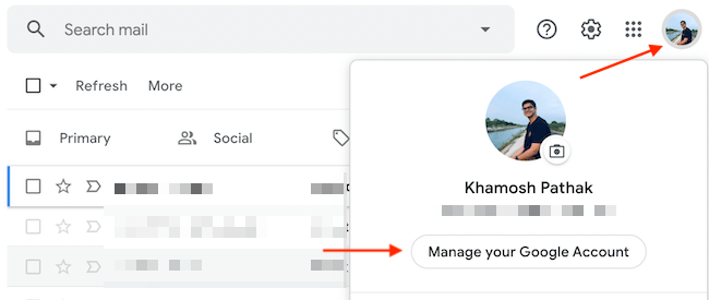 """Select """"Manage Your Google Account"""" from the Google Profile menu."""
