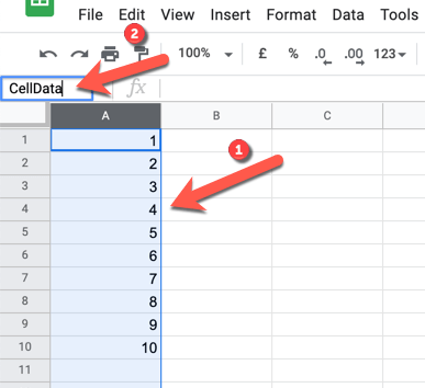To quickly rename a column or row, select the row or column, then replace the cell reference in the name box with your own name before pressing the Enter key to save.
