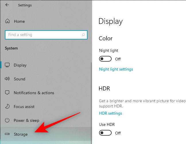 Select Storage from the left-hand side pane in Settings