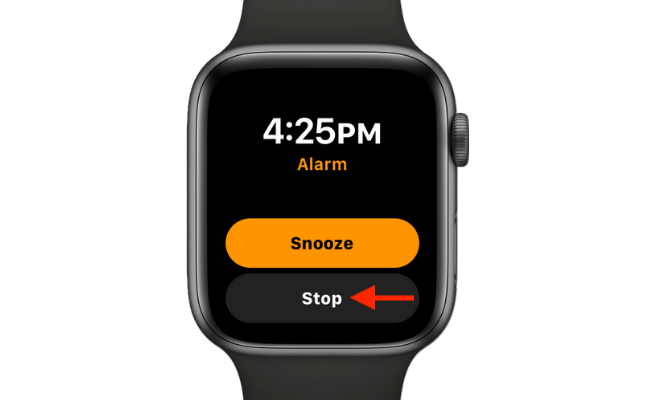 """Tap """"Stop"""" to disable the alarm, or tap """"Snooze"""" to delay it."""