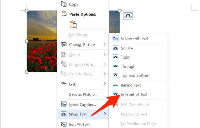 Select Wrap Text > In Front of Text from Word's context menu.