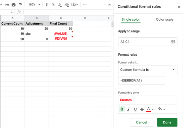 Google Sheets conditional formatting for errors