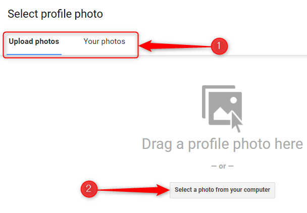 """Select a photo by using the """"Upload Photos"""" or """"Your Photos"""" tab."""