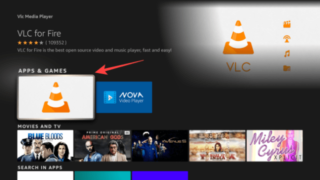 press the remote's center button to open the VLC app page.