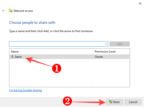 """Select your Windows user account from the list and click the """"Share"""" button at the bottom."""