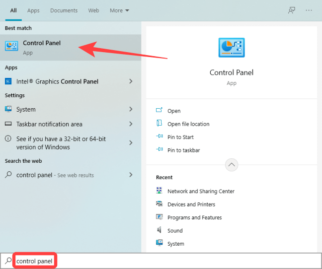 """Click Start, type """"Control Panel"""" in the Windows Search, and hit Enter."""