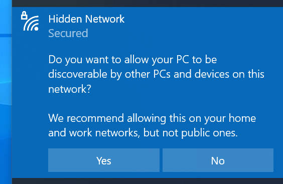 Choose whether to remain discoverable or not on the selected Wi-Fi network.