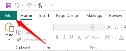 Click File in Publisher's ribbon.