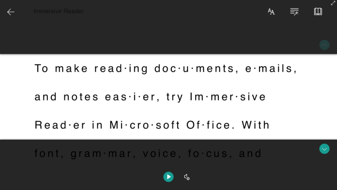 Immersive Reader Three Lines in Word on the Web