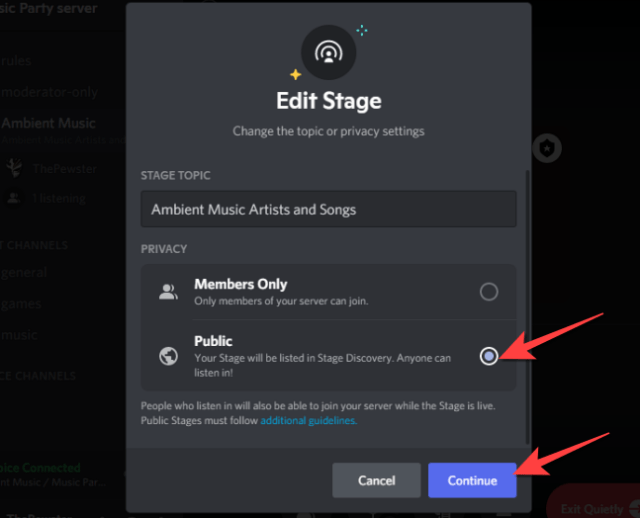 """Select the """"Public"""" setting under the Privacy section to switch it to a Public Stage event and select """"Continue."""""""