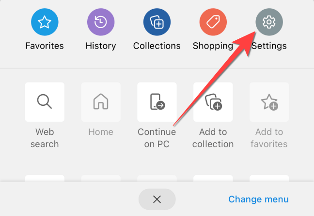 """From the menu that pops up, select the """"Settings"""" button."""