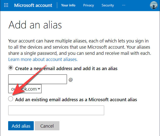 Select the option that lets you add new alias email.