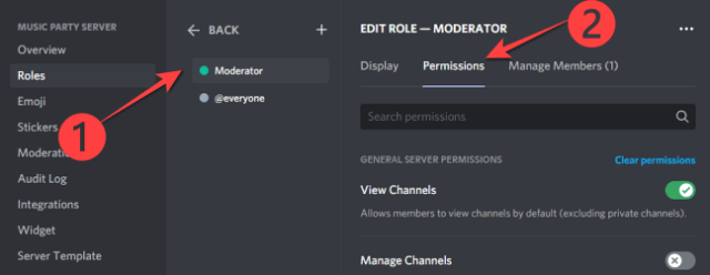 """select the """"Moderator"""" option or whichever role name you've assigned for the moderators on your Community server."""