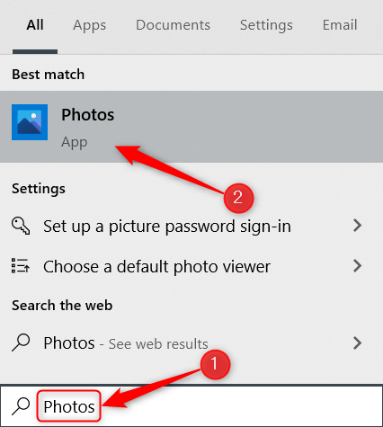 """Type """"Photos"""" in the Windows Search bar and click the Photos app."""