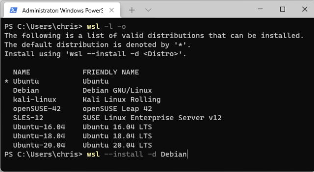 List available Linux distributions and install one.