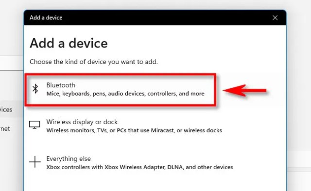 """In the """"Add a Device"""" window, click """"Bluetooth."""""""