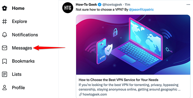 """Click """"Messages"""" on the Twitter site."""