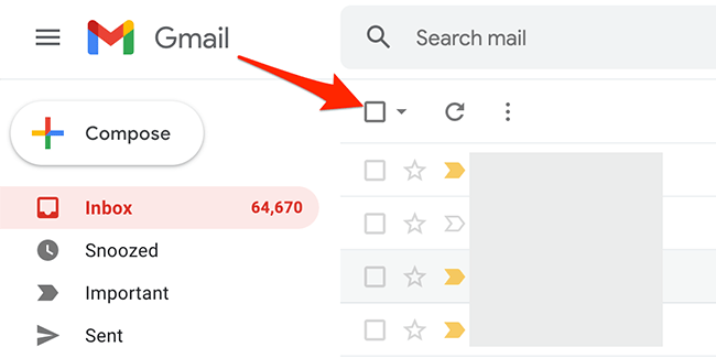 """Click the """"Select"""" option on Gmail."""