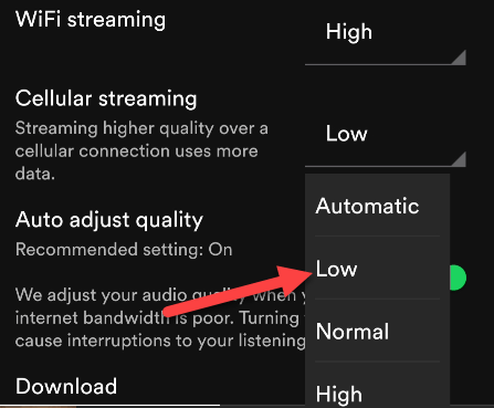 Select a streaming quality.