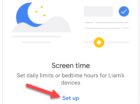 """Select """"Set Up"""" for Screen Time."""