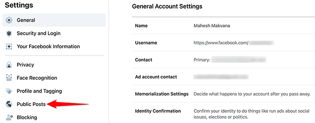 """Select """"Public Posts"""" on the """"General Account Settings"""" page on Facebook."""