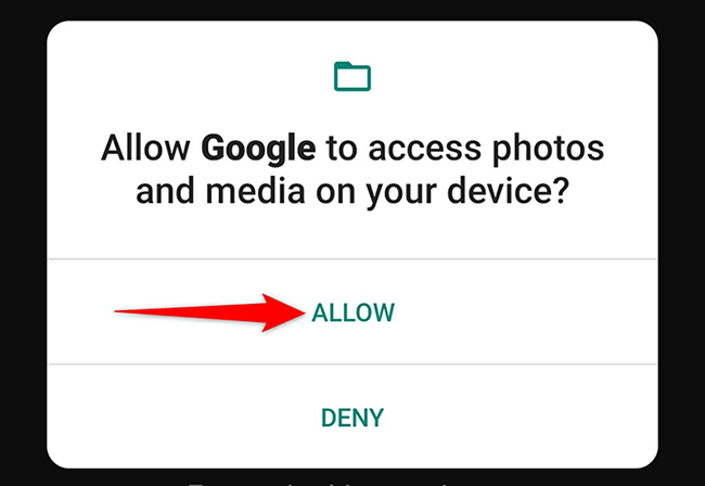 """Tap """"Allow"""" in the access prompt of Google Lens."""