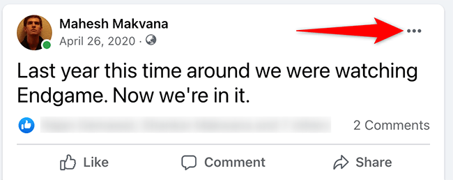 Click the three dots at the top-right corner of a Facebook post.