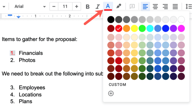 Select a number and click Text Color in the toolbar