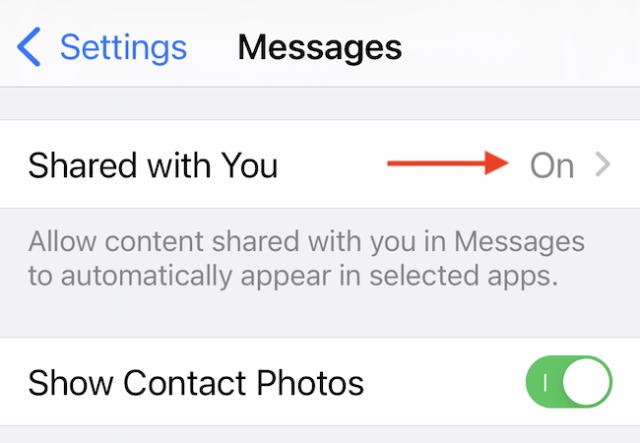 """Go to the """"Shared with You"""" section in Messages."""