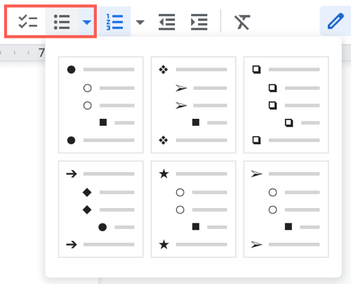 Click Bulleted List in the toolbar and pick a style