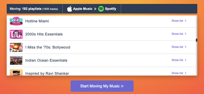 """On the Tune My Music website, click """"Start Moving My Music"""" to begin sending your Apple Music playlists to Spotify."""