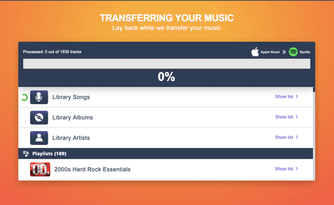 Tune My Music is moving your Apple Music playlists to Spotify.