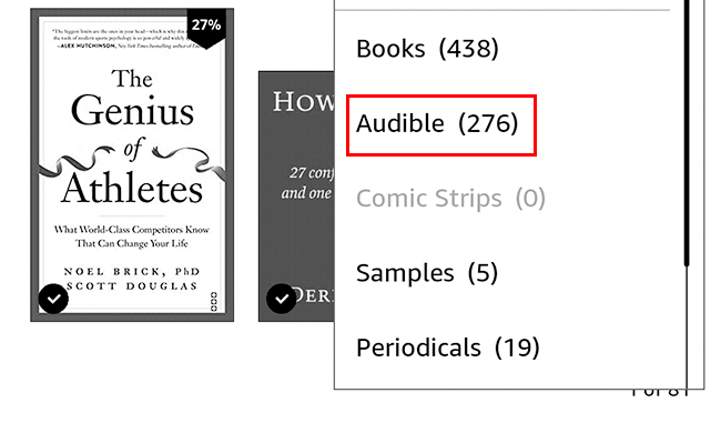 Tap Audible to see your audiobooks