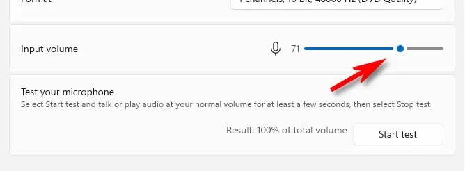Adjust the microphone input volume with the slider.